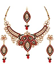 Variation Maroon & Green Bridal Jewellery Set With Mangtika For Women - VD13301