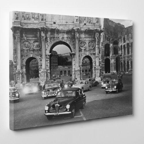 QUADRO MODERNO su Tela Canvas - VACANZE ROMANE - Roma Vintage Bianco e Nero - Auto - 30x40cm - Spessore 2cm