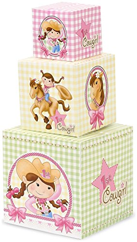 Birthday Express - Pink Cowgirl 1st Birthday Building Blocks Centerpiece