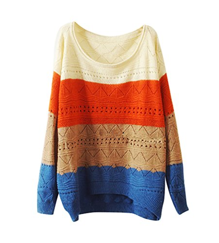 YouPue Colore Striscia Pullover Maglia Maglione Donna Vuoto Manica Lunga Girocollo Allentata Tops Sweatshirt Felpa Casuale Beige