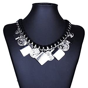 Qiyun Tribal Silvery Dangle Coin Charms Bold Chunky Bib Necklace Charmes De Pie ces De Monnaie Argente es Gras Collier