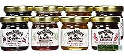 Mrs. Miller\'s Amish Homemade Mini Travel & Sampler Variety Pack - Assortment of 2 Seedless Red Raspberry Jam, 2 Strawberry Jam, 2 Elderberry Jelly & 2 Hot Pepper Jelly 1.5 oz Each with a Jarosa Bee Organic Chocolate Bliss Lip Balm