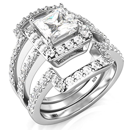 Sz 7 Sterling Silver 3Pcs 925 CZ Cubic Zirconia Engagement Wedding Band Ring Set