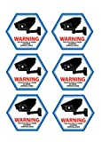 Mandala Crafts Blue Edge Home Business Security DVR CCTV Camera Video Surveillance Window Door Warning Alert Back Self Adhesive Sticker Decals Vinyl Sign Pack of 6