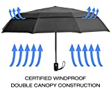 sMrt Double Canopy Windproof Umbrella - Compact Travel Design, Easy to Handle with Auto Open Close System - Perfect for Golf and Beach Season - Lifetime Warranty (Black)