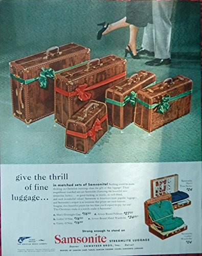 Samsonite Streamlite Luggage, 40`s Print Ad. Full Page Color Illustration (matched set) Original Vintage, 1947 Rare, Collier`s Magazine Art