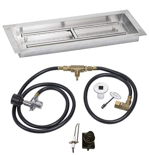 Stainless Steel 24 Inch x 8 Drop-In Fire Pit Pan Propane -Ignition Kit (Propane Fire Pan compare prices)