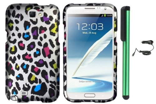 Review:  Colorful Leopard On Silver Premium Design Protector Hard Cover Case for Samsung Galaxy Note II N7100 (AT&T, Verizon, T-Mobile, Sprint, U.S. Cellular) Android Smart Phone + Luxmo Brand Car Charger + Combination 1 of New Metal Stylus Touch Screen Pen (4