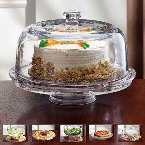 51nxein0atl & 6 in 1 - Glass Cake Plate Dome - Multipurpose Glass Cake Stand ...