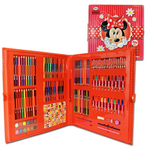 Giant 200 Piece Colouring Carry Case Disney Minnie Mouse Kids Fun Art...