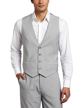 Calvin Klein Men's Pinstripe Vest Jacket, Chivalry, Medium