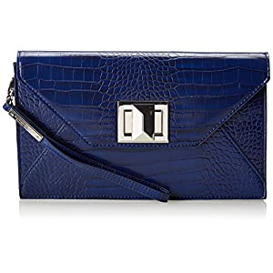 BCBG Faux Croco Leather with Icon Turnlock Clutch,Cobalt,One Size