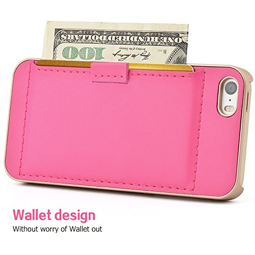 04. iphone SE Case, Iphone 5s Wallet Case - Leather Case for Iphone 5 By Zve® ultra Slim Protective Apple Iphone 5 Case and Credit Card ID Holders for iPhone 5, iphone5s, iphone SE(Rose)