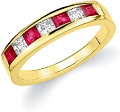 14K Yellow Gold Diamond Princess Cut Ruby Ring 10 cttw G-H Color SI1-SI2 Clarity Size 11