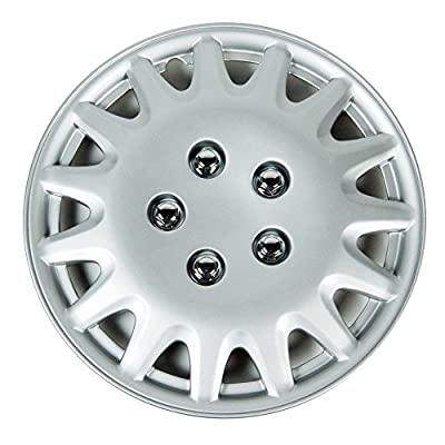 "Silver 14"" Hub Caps Full Wheel Rim Covers w/Steel Clips (Set of 4) - KT-996S-14"
