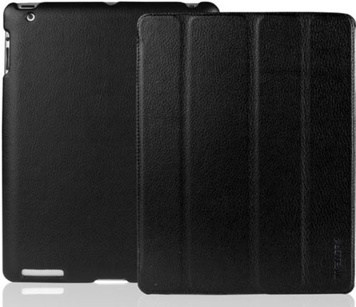 INVELLOP BLACK Leatherette Case Cover for iPad 2 / iPad 3 / The new iPad (Built-in magnet for sleep/wake feature)