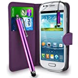 Gbos Dark Purple Leather Wallet Flip Case Cover Pouch For Samsung Galaxy S3 Mini I8190 + Free Screen Protector & Touch Stylus Pen - Dark Purple