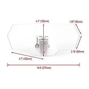Lalaparts Clear Motorcycle Adjustable Clip on Extension Windshield Windscreen Spoiler Compatible for Honda Yamaha Suzuki Kawasaki