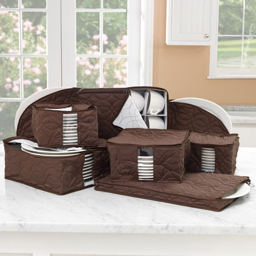 8pc China Padded Plate Dish Storage Cup SET Quilted-chocolate Brown