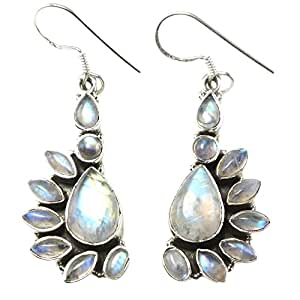 Amazon.com: Sterling Silver Natural 10ct Moonstone Dangle ...