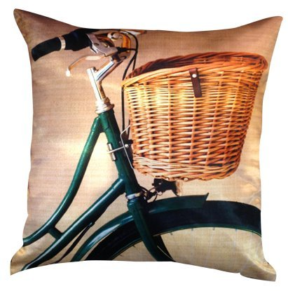 """Artiwa Vintage Bike Bicycle Cotton & Soft Velvet Sofa Couch Throw Decorative Pillow Cover 18""""X18"""" (Pc57A02) front-123501"""