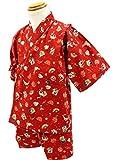 エビス柄 赤 [110サイズ] KOMESICHI オリジナル子供甚平 綿100% 肌着 パジャマ 寝巻き
