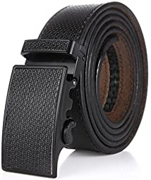 Marino Men\'s One Piece Leather Ratchet Dress Belt with Automatic Leather Fashion Buckle - Black Leather Buckle with Black Leather - Custom: Up to 44\