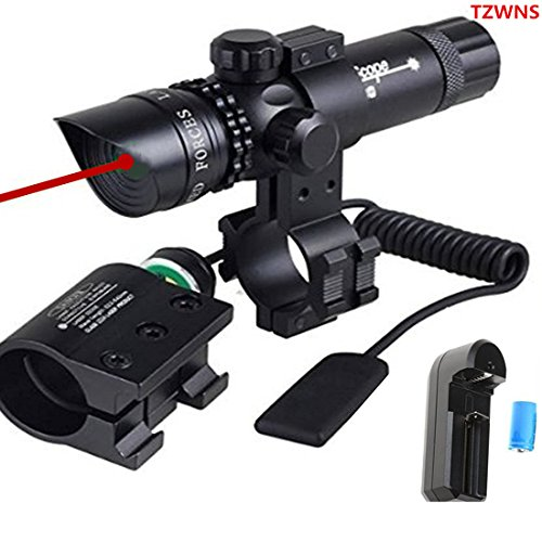 TZWNS 3 Modes Zoomable Laser Sight Scope bundle with Mount, Tactical power and Battery Charger (7 Items) (Military Red Laser compare prices)