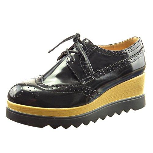 Sopily - Scarpe da Moda scarpa derby zeppe alla caviglia donna perforato Tacco zeppa 5.5 CM - Nero CAT-5-MY1818 T 39
