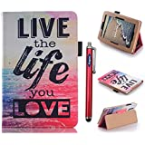 Amazon Kindle Fire HD 7 case, Vogue shop Ultra Slim Premium PU Leather Folio Protective Stand Case with Magnetic Closure for Amazon Kindle Fire HD 7 SmartShell Cover for Amazon Fire HD 7 4th Generation (2014) (2014 Oct Release) (With Smart Cover Auto Wake / Sleep) (live the life)
