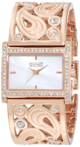 badgley-mischka-womens-ba-1226wmrg-swarovski-crystal-accented-rose-gold-tone-bangle-watch