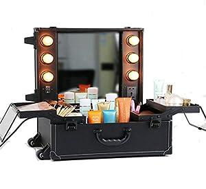 Unho travel makeup organizer rolling makeup for Mini makeup desk