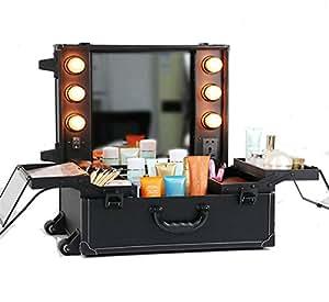 unho travel makeup organizer rolling makeup case with hollywood lighted vanity. Black Bedroom Furniture Sets. Home Design Ideas