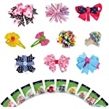"""Bundle Monster 10 piece Girl Baby Toddler Ribbon Bows Mixed Design Hair Clip Barettes in """"BM"""" Gift Package"""