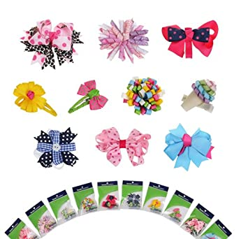 Bundle Monster 10pc Girl Baby Toddler Ribbon Bows Mixed Design Hair Clip Barette