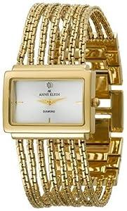 Anne Klein Women's 107208SVGB Diamond Accented Gold-Tone Bracelet Watch