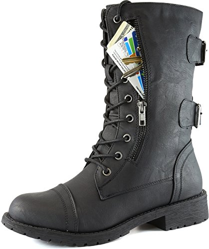 Women's Military Up Buckle Combat Boots Mid Knee High Exclusive Credit Card Money Pocket Pouch, 12
