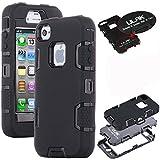 ULAK - Cover per iPhone 4S Case - Custodia ibrida a protezione integrale con parte esterna in 3 strati di morbido silicone e interno rigido per iPhone 4/4S - (nero + nero)