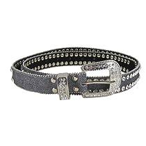 Fashion Belt Jeweled 2-Row Rhinestones, Grey (M-L)