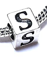 Charm Buddy Silver Plated Alphabet Initial Letter S Jewellery Charm Bead Fits Pandora Troll Bracelets