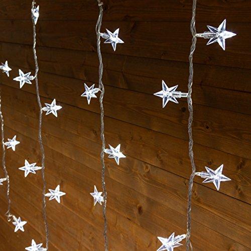 Eiszapfen-Lichterkette 3 x h 0,8 m, 94 LED-Sterne kaltweiß, transparentes Kabel, mit Memory Controller