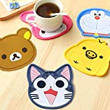 Zilo(TM) Adorable Coasters - Set of 5 - Good Grip, Stain Free, Silicone Coasters - Large 5-inch Size Coasters (Rilakkuma, Doraemon)
