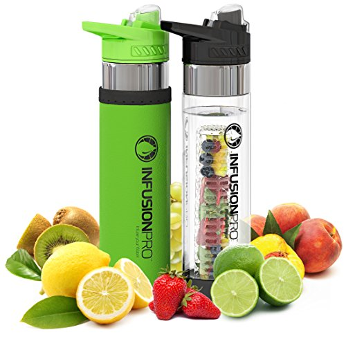 Infusion Pro Premium 2 Pack Fruit Infused Water Bottle - Bottom Infuser with Flip Top Lid -Large 24 Oz BPA Free Tritan Plastic - Green and Black Sports Combo,fruit Flavored Water Ebook Recipes (Book To Put Recipes In compare prices)
