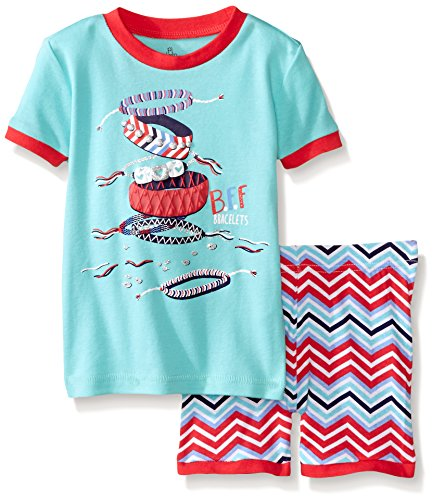 Petit Lem Little Girls Fashionista Short 2 Piece Pajama Set, Turquoise, 6