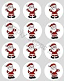 12 Father Christmas rice paper cupcake toppers 40mm santa cake decoration