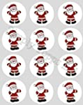 12 Father Christmas rice paper cupcak...