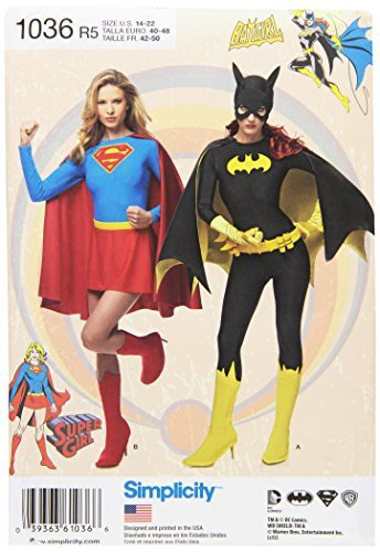 [Simplicity Creative Patterns US1036R5 Misses Supergirl and Batgirl Costumes, Size R5 (14-16-18-20-22) by Simplicity Creative] (Supergirl Costume Size 22)