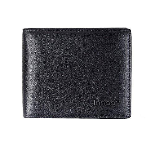 InnooTech RFID-Blocker Schutz Geldbörse, Brieftasche, Herren Portemonnaie Geldbeutel mit Echtem Leder Kreditkarten Schwarz