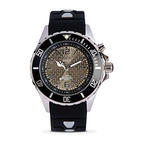 Kyboe. Silver Reloj analógico para mujer Quartz silicona negro KY de 40-002