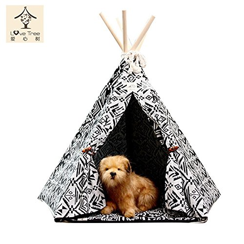 LoveTree® Pet Indian Teepee-Black and White Style-Preassemble